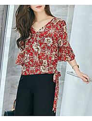 Women's Casual Simple Summer Blouse,Floral V Neck Half Sleeve Chiffon Medium