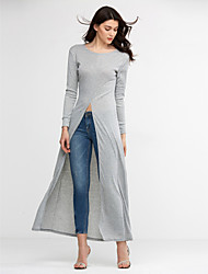 Damen Solide Sexy Ausgehen / Übergröße T-shirt,Rundhalsausschnitt Frühling / Herbst Langarm Rot / Schwarz / Grau Polyester Mittel