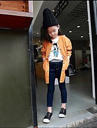 Para Meninas Jeans Cor Única Primavera