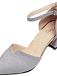 Femme Chaussures Polyuréthane Eté Sandales Marche Block Heel Bout pointu Boucle Pour Or Argent