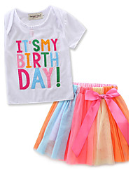Girls' Fashion Stripe Embroidered SetsCotton Chiffon Summer Short Sleeve Short Skirt T-shirt Clothing Baby Kids Set