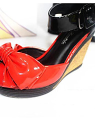 Mujer Tacones Confort Semicuero Verano Casual Confort Negro Rojo 5 - 7 cms