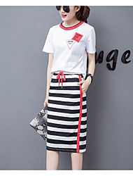 Women's Daily Casual Summer T-shirt Skirt Suits,Striped Crew Neck Short Sleeve strenchy