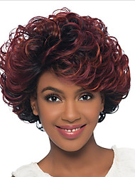 Short Synthetic Curly hair Wig with Side Part 8inch Ombre Bug Wavy Women Wig Heat Resistant Wig