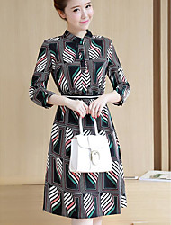 Women's Casual/Daily Simple A Line Dress,Print Shirt Collar Above Knee Long Sleeve Polyester Summer High Rise Inelastic Thin