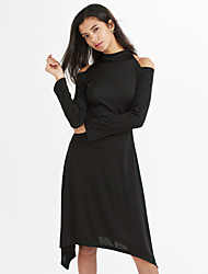 Women's Cut Out Fall bottom of Europe and the United States long sleeve off-the-shoulder accept waist A word set knitted dress