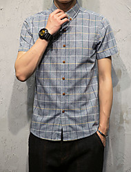 Men's Business Casual Simple Street chic Shirt,Plaid/Check Lattice Shirt Collar Short Sleeve Cotton