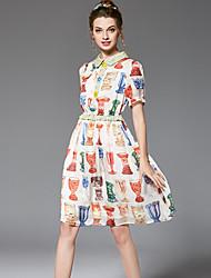 Trapèze Mousseline de Soie Balançoire Robe Femme Sortie Décontracté / Quotidien Grandes Tailles Vintage simple Chic de Rue,FleurCol de