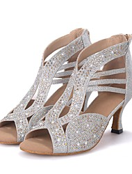 Personalizables Mujer Latino Jazz Moderno Zapatos de Swing Brillantina Sandalias Tacones Altos Profesional ActuaciónPedrería Brillantina