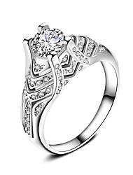 Ring Verlobungsring Kubikzirkonia Modisch Klassisch Elegant Zirkon versilbert Kreisform Schmuck Für Hochzeit Party 1 Set