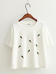 Damen Stickerei Sonstiges Einfach Niedlich Alltag T-shirt,Rundhalsausschnitt Kurzarm Baumwolle