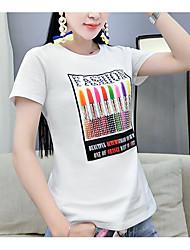 Damen Solide Druck Einfach T-shirt,Rundhalsausschnitt Sommer Kurzarm Baumwolle