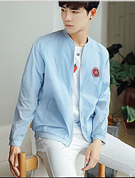 Men's Daily Casual Casual/Daily Summer Jacket,Solid Pattern Stand Long Sleeve Regular Cotton
