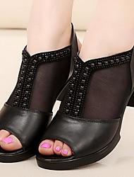 Mujer Sandalias PU Primavera Negro 5 - 7 cms
