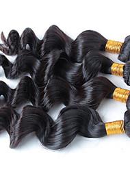 4Pcs/Lot 200g 8-28 Brzilian Virgin Loose Wave Natural Black Human Hair Weave Hair Bundles