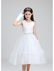 Ball Gown Knee Length Flower Girl Dress - Organza with Ruffles
