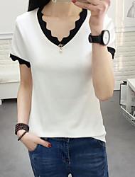Damen Solide Gestreift Einfach Alltag T-shirt,V-Ausschnitt Kurzarm Baumwolle