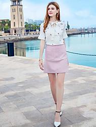 Для женщин Блуза V-образный вырез,Очаровательный С принтом С короткими рукавами,Полиэстер