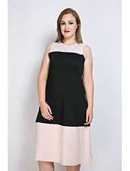 Really Love Women's Plus Size Party Holiday Sexy Vintage Street chic Sheath Lace Black and White Dress,Color Block Patchwork Round Neck Midi