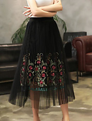 Women's Casual/Daily Midi Skirts,Active A Line Pure Color Print Summer