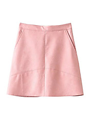 Women's Going out Casual/Daily Club Mini Skirts A Line Solid Spring, Fall, Winter, Summer