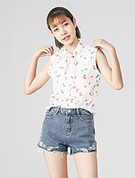 Women's Casual/Daily Simple Blouse,Floral Stand Sleeveless Polyester