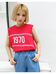 Damen Druck Street Schick Ausgehen T-shirt,Rundhalsausschnitt Sommer Kurzarm Baumwolle Undurchsichtig
