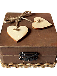 Wooden love square ring box - coffee color
