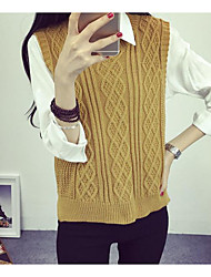Women's Daily Casual Date Going out Simple Street chic Shirt,Solid Shirt Collar Long Sleeve Cotton Knitwear