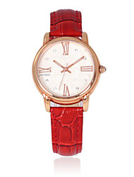 Women's Fashion Watch Quartz Pedometer Genuine Leather Band Charm Red