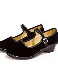 Women's Flats Comfort Fabric Spring Fall Athletic Casual Hook & Loop Wedge Heel Black Flat