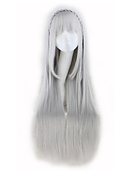 Lord Saints Actress Emilyia Cos Animation Wig Silver Long Straight Hair Wig 30inch