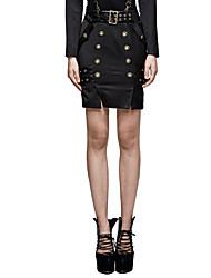 Femme Vintage Chic de Rue Punk & Gothic Travail Quotidien Soirée Au dessus des genoux Jupes,Moulante Couleur métalique brillante Sexy