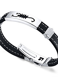 Men's ID Bracelets Friendship Hip-Hop Rock Movie Jewelry Initial Jewelry Costume Jewelry Fashion Silicone Titanium Steel Circle Round
