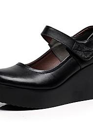 Women's Heels Basic Pump Leather Spring Fall Office & Career Basic Pump Wedge Heel Black 3in-3 3/4in