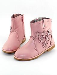 Девочки Ботинки Босоножки Полиуретан Весна Осень Повседневный На толстом каблуке Черный Розовый Цвет экрана 2,5 - 4,5 см