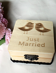 Wooden couple bird square ring box - original wood color