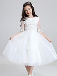 Ball Gown Tea Length Flower Girl Dress - Organza with Ruffles
