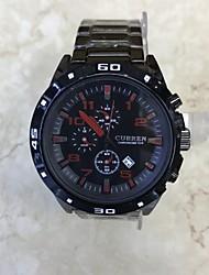 Hombre Reloj de Moda Reloj de Pulsera Chino Cuarzo Calendario Esfera Grande Acero Inoxidable Aleación Banda Cool Negro