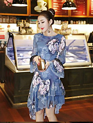 Women's Special Occasion Other A Line Dress,Floral Round Neck Above Knee Long Sleeve Other Spring Fall High Rise Micro-elastic Medium