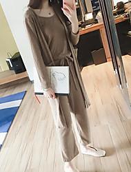 Feminino Blusa Calça Conjuntos Primavera Outono Decote Redondo Manga Longa