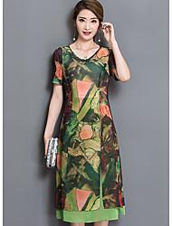 Damen Tunika Kleid-Lässig/Alltäglich Geometrisch Rundhalsausschnitt Midi Kurzarm Polyester Sommer Mittlere Hüfthöhe Unelastisch Dünn