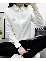 Women's Casual/Daily Simple Shirt,Solid Stand Long Sleeve Silk
