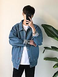 Men's Daily Modern/Comtemporary All Seasons Denim Jacket,Solid Shirt Collar Long Sleeve Regular Others