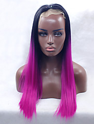 Fashion Long Silky Straight Ombre Magenta with Black Roots Heat Resistant Synthetic Lace Front Wigs for Women Purple Glueless Fiber Hair Free Shipping