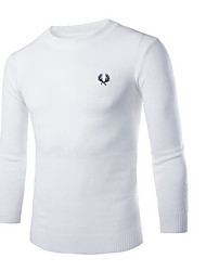 Men's Casual/Daily Regular Pullover,Solid Round Neck Long Sleeve Cotton Fall Medium Micro-elastic