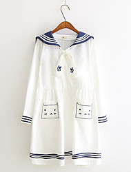 One-Piece/Dress Party Costume Student/School Uniform Sailor/Navy Festival/Holiday Halloween Costumes White Ink Blue Fashion Dress