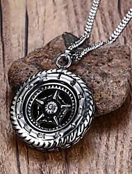 Homme Pendentif de collier Colliers Déclaration Forme de Cercle Forme d'Etoile Acier inoxydable Acier au titane bijoux de fantaisie Mode