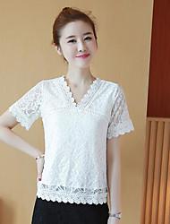 Damen Solide Einfach T-shirt,V-Ausschnitt Kurzarm Polyester