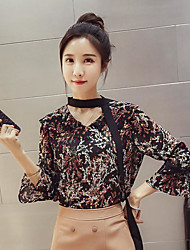 Women's Casual/Daily Simple Spring Summer Blouse,Floral V Neck Long Sleeve Chiffon Sheer Thin